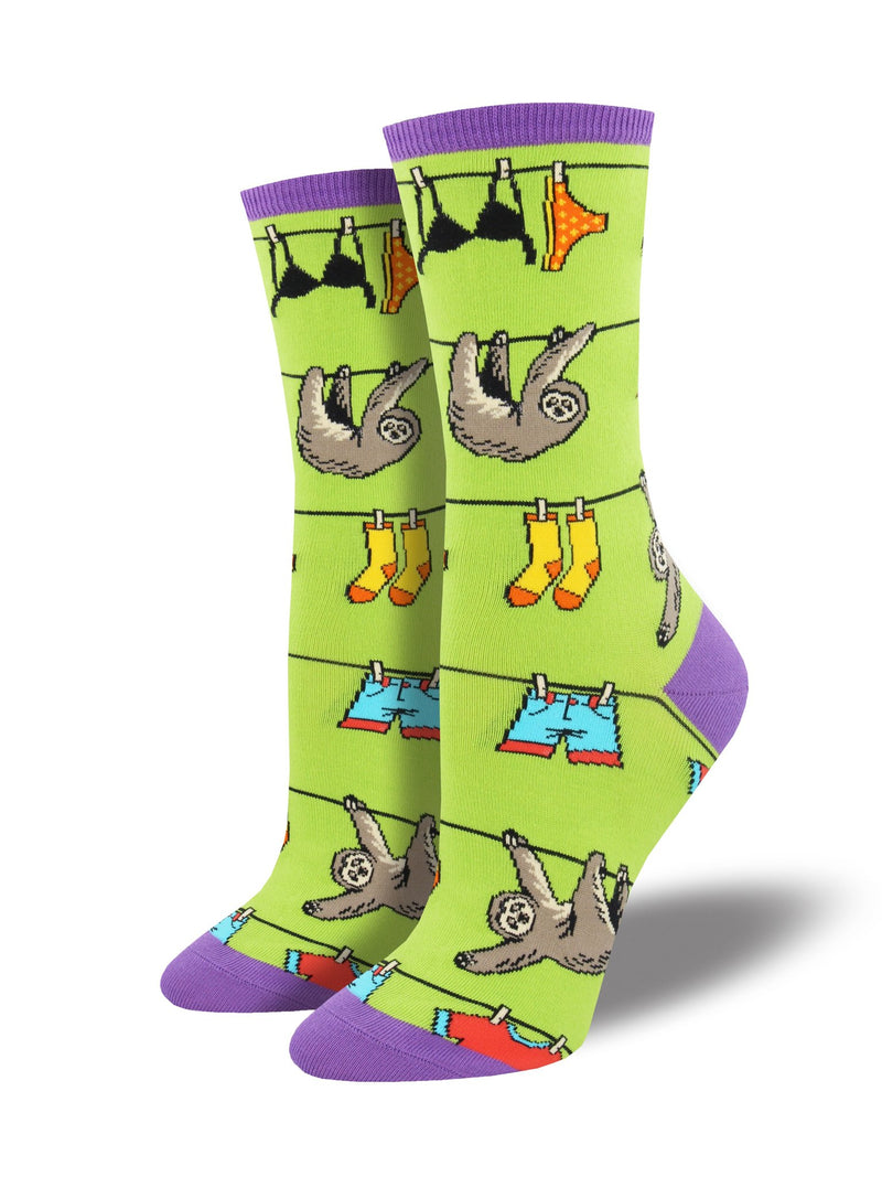 Green socks featuring sloths on a clothesline