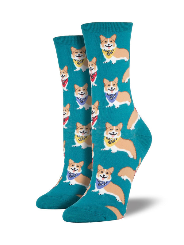 Emerald colored socks featuring happy corgis