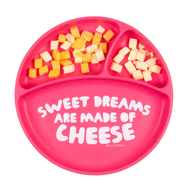 Top View of Bella Tunno plate with sweet dreams are made of cheese saying with cheese in two of the compartments