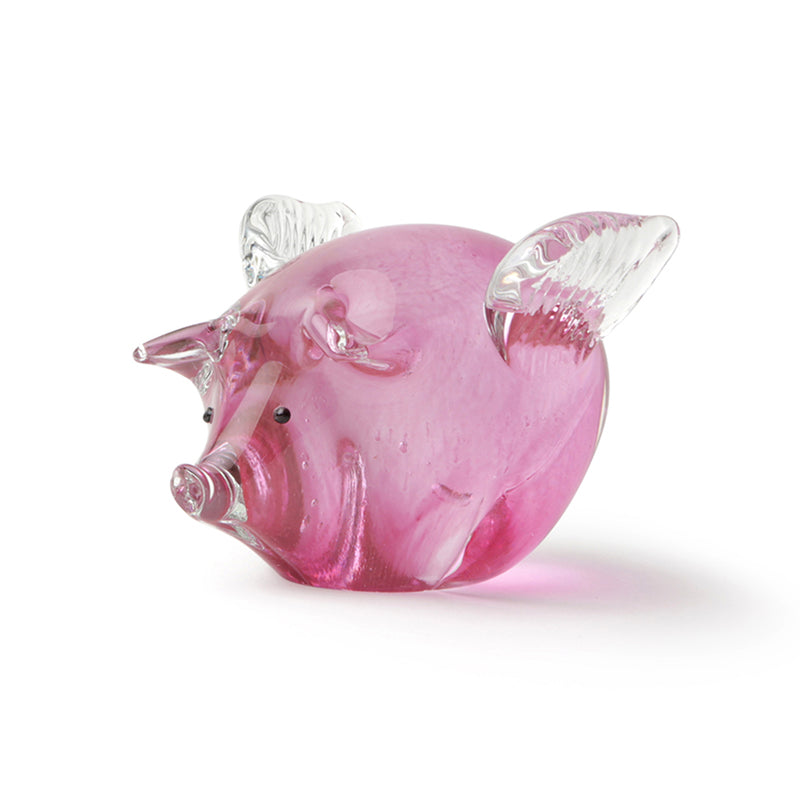 Pink Pigs Fly Glass