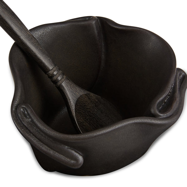 Tiny Pot with Spoon Ebony
