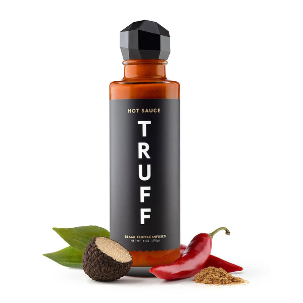 Truff Hot Sauce bottle with black truffle and chili pepper