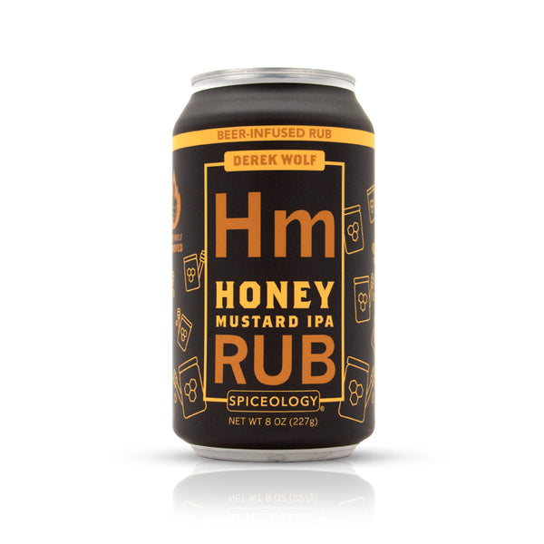 Honey Mustard IPA rub in an aluminum can retail packaging