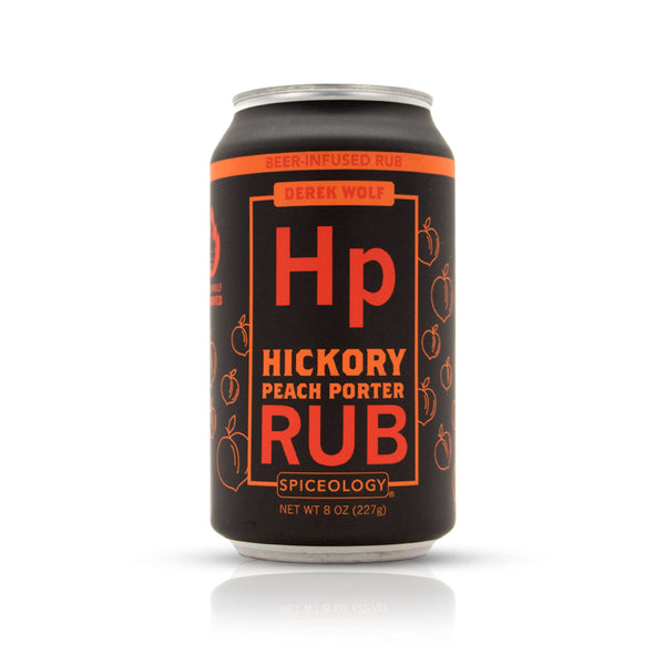 Hickory peach porter rub in aluminum can retail packaging