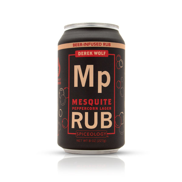 Mesquite peppercorn lager rub in an aluminum can retail packaging