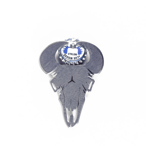 Bison Skull Bottle Opener Silver