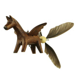 Closeup of Horse Whirly Mobile showing hand carved flying horse with duck feather tail.