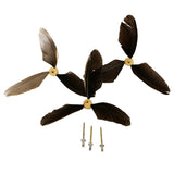 Whirly Replacement Feathers, set of three duck feather tails and three rivets