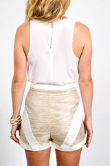 White Gold High-waisted Shorts