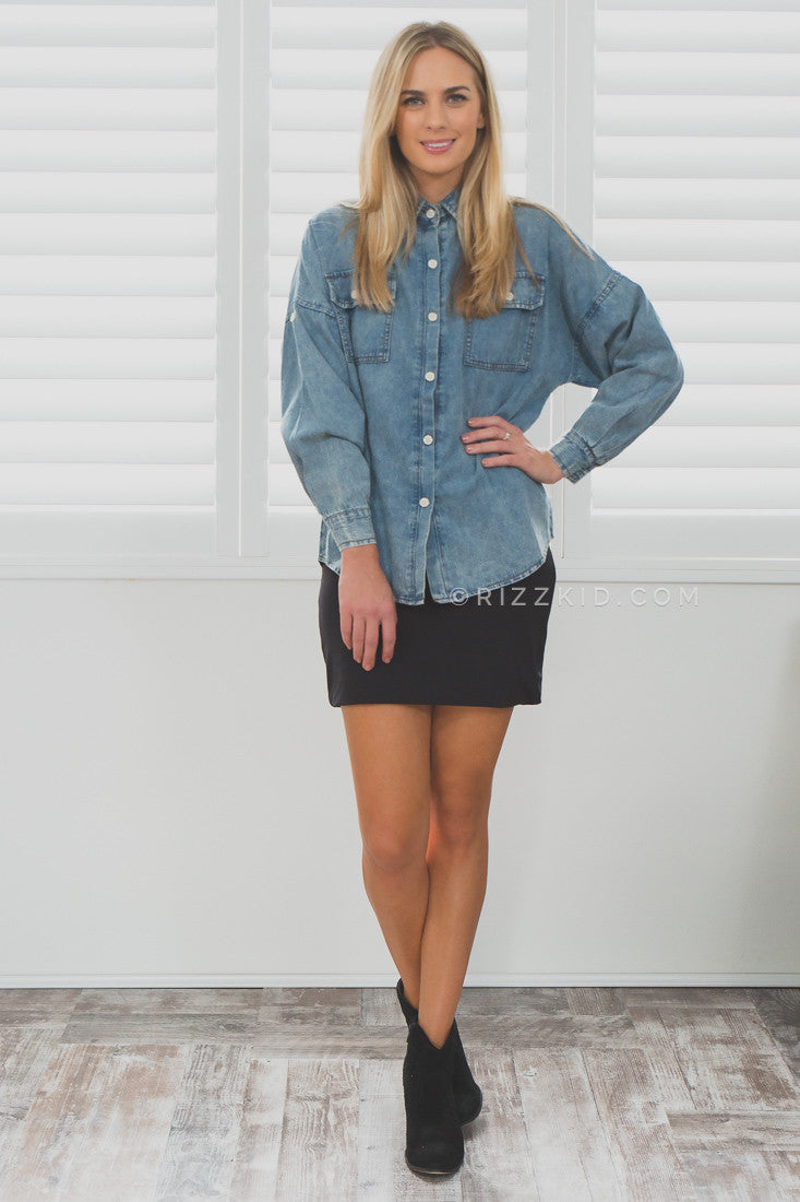 Boyfriend Denim Button Up