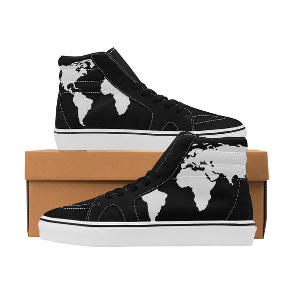Women's World Travel Map Canvas Shoes [Hi-Tops] [Extended Sizes]