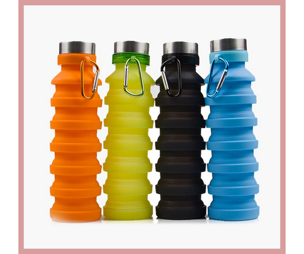 Collapsible Reusable Silicone (BPA) Water Bottle with Clip