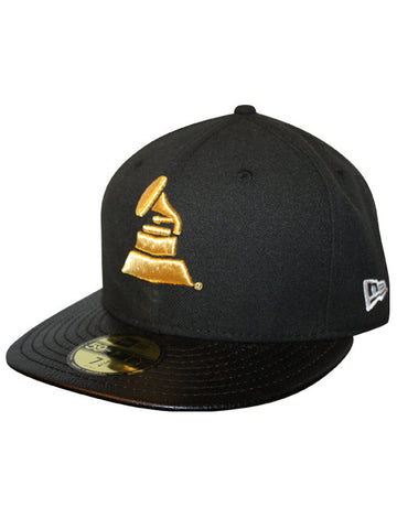 GRAMMYs Logo Fitted Cap Black Leather Visor