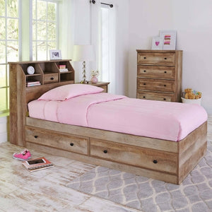 Better Homes and Gardens Crossmill Mates Storage Bed, Twin, Weathered Finish