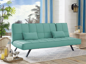 Serta Clara Dream Pool and Deck Outdoor Convertible Sofa with Fabric and Metal Frame, Sea Foam