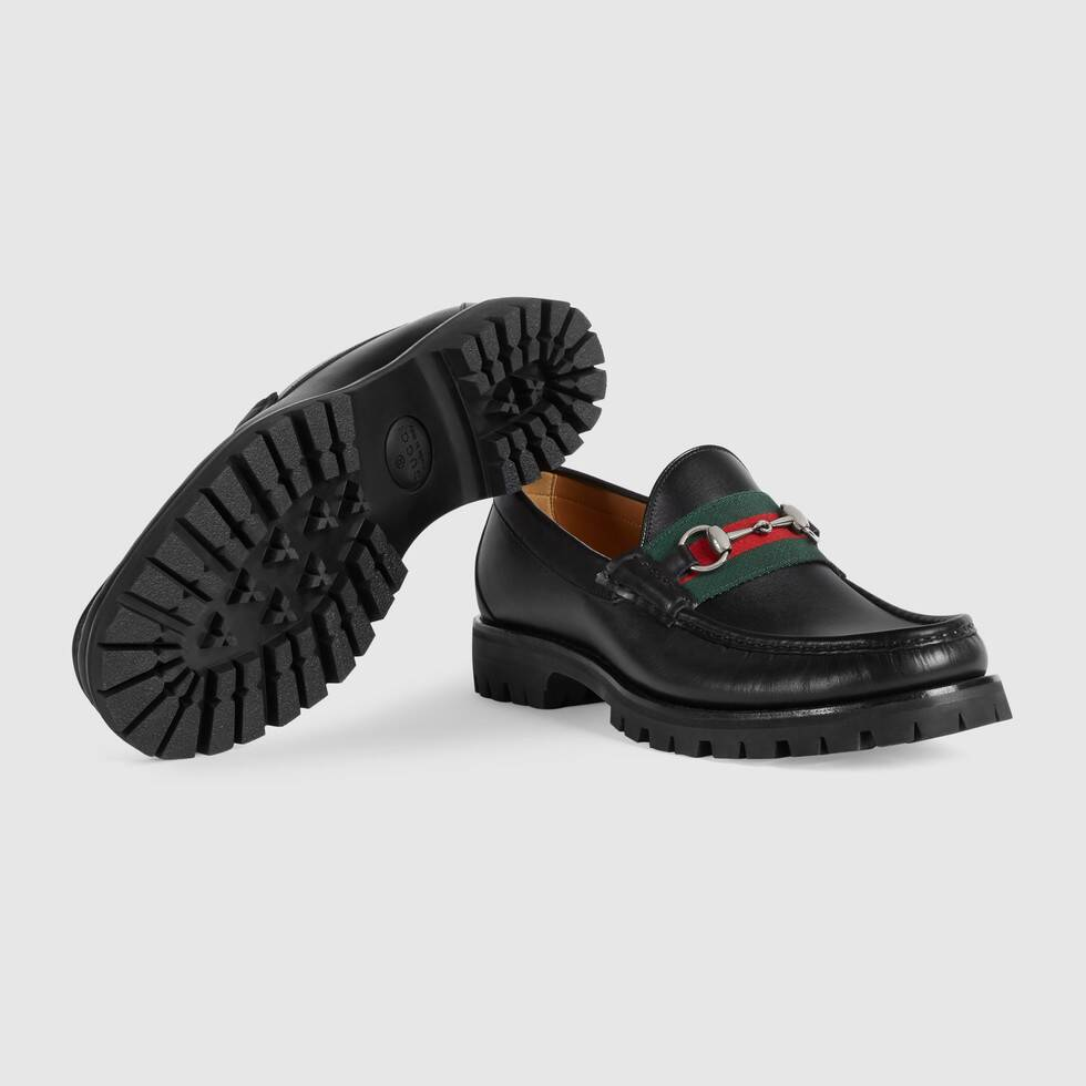 Leather Web Horsebit loafer