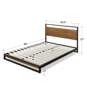 "Zinus Suzanne 37"" Metal and Wood Platform Bed with Headboard, Chestnut Brown, Queen"