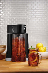 Mr. Coffee Tea Cafe 2-in-1 Iced Tea Maker with Glass Pitcher, Black