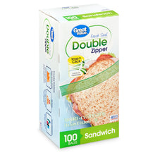 Load image into Gallery viewer, Great Value Fresh Seal Double Zipper Sandwich Bags, 100 Count