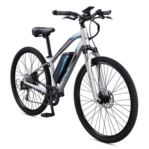 Schwinn Sycamore Electric 350 Watt Hub-Drive 8-Speed Mountain/Hybrid Electric Bicycle, Women's, Small, Silver