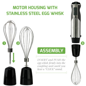 Ovente Immersion Hand Blender Set with 6 Speeds Control and 3 Premium Attachments of BPA-Free Food Chopper, Egg Whisk, and Mixing Beaker Included, 500 Watts, Detachable Shaft, Black (HS665B)