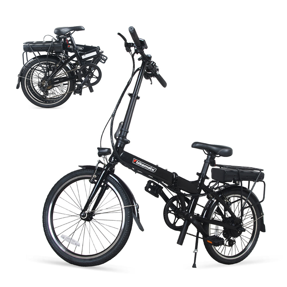Bikemate Folding Electric Bike For Adults, 2 Modes Electric Bicycle 250W Black & White