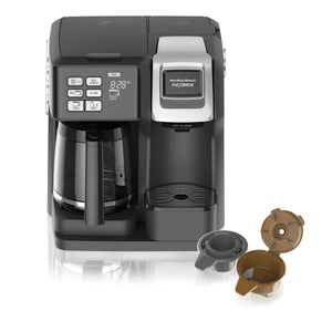 Hamilton Beach FlexBrew 2-Way Coffee Maker, Single Serve and Full Coffee Pot, Compatible with Single Serve Pods or Ground Coffee, Programmable, Model 49954