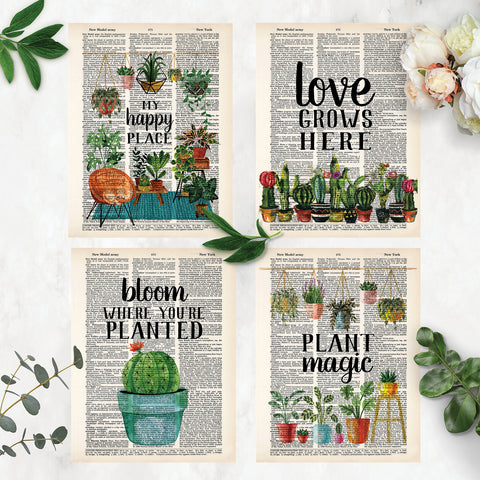 four plant themed prints with text my happy place, love grows here, bloom where you're planted, and plant magic printed on dictionary pages