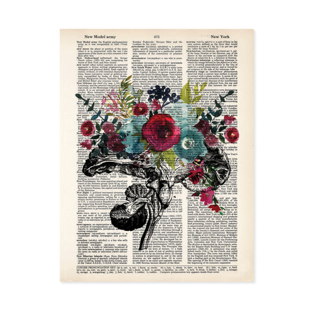 vintage etching of the cross section of an anatomical brain accented with watercolor tropical flowers in shades of blue and raspberry reds printed on a dictionary page