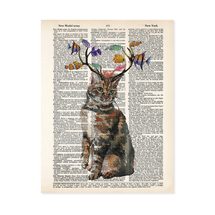 cat with antlers and fish nibbling on the antlers with a crab on the cats head, all in watercolor printed on dictionary page