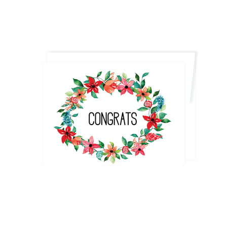 tropical floral wreath in shades of reds, pinks, blues, surround the word congrats, greeting card is blank inside