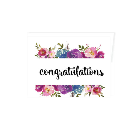 congratulations greeting card, blank inside, with flowers top and bottom in shades of pinks, purples, and blue watercolor