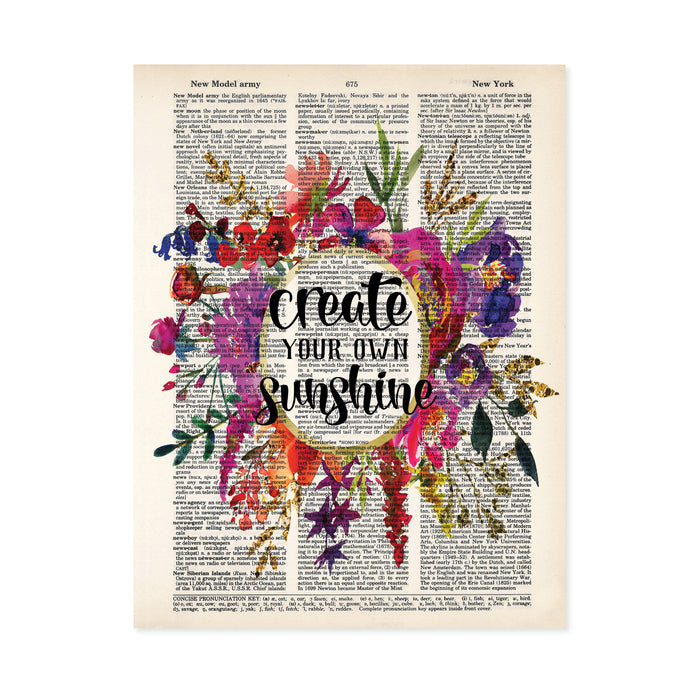 create your own sunshine in a watercolor floral wreath in pinks, purples, greens, and golden tones on salvaged dictionary page