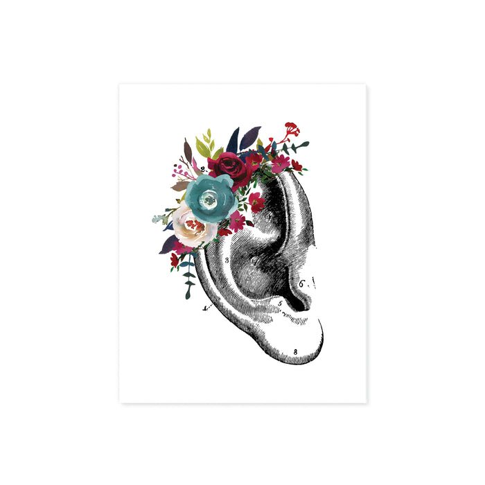 vintage ear etching with watercolor flowers in blues and reds on matte white paper