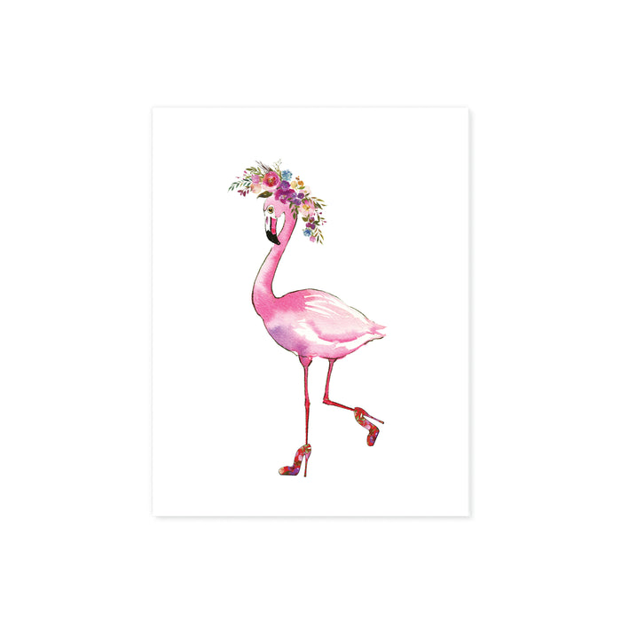 pink flamingo wearing high heels with one leg kicked back her shoes have a floral pattern and her head is adorned with a watercolor floral wreath in shades of pinks purples and blues with greenery on matte white paper