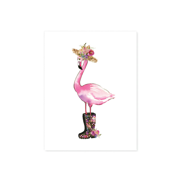 watercolor pink flamingo wearing a straw hat with flowers and rain boots with flowers all in watercolor and shades of pinks, purples, blues with greenery on matte white paper