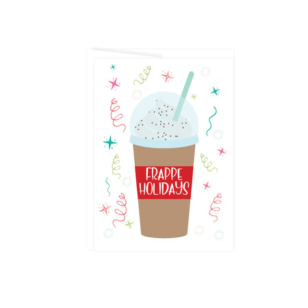 frappe drink with Frappe Holidays on red band on cup  surrounded by red and green stars and streamers this Christmas Holiday card is blank inside