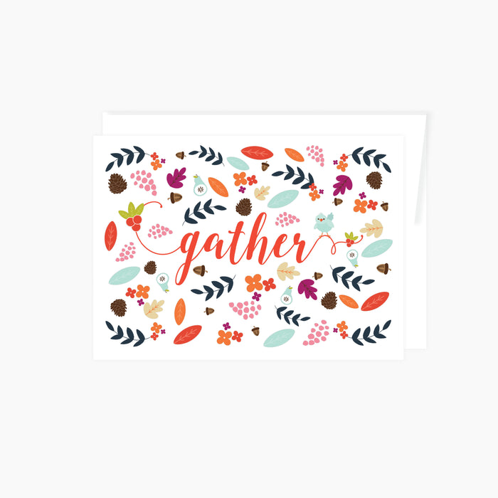 greeting card with the word gather surrounded by watercolor fall art including leaves, fruits, pinecones, acorns, and a little blue bird in water colors