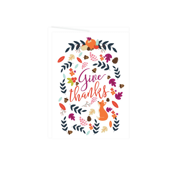 Give Thanks greeting card with autumn leaves acorn pinecones pumpkin apple and a fox card is blank inside