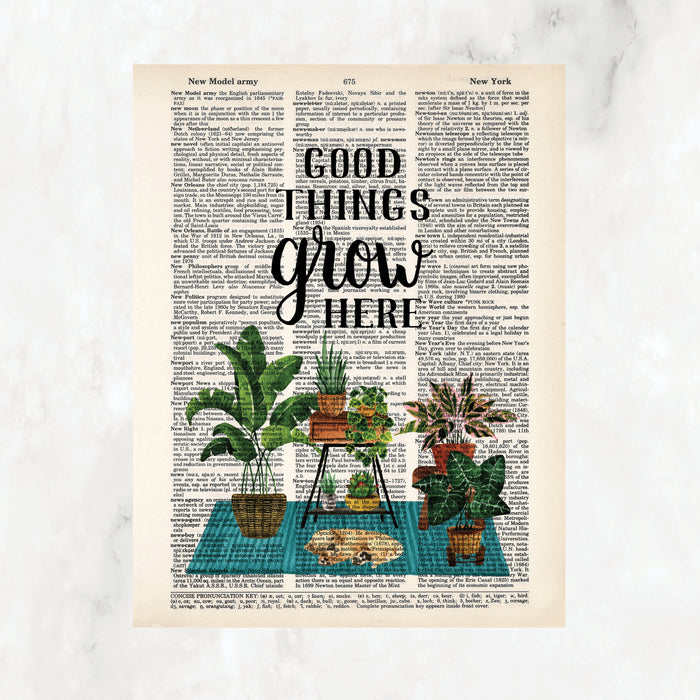 good things grown here in black text above a scene of plants on plant stands on a blue rug with a tan puppy sleeping on the rug printed on salvaged dictionary paper