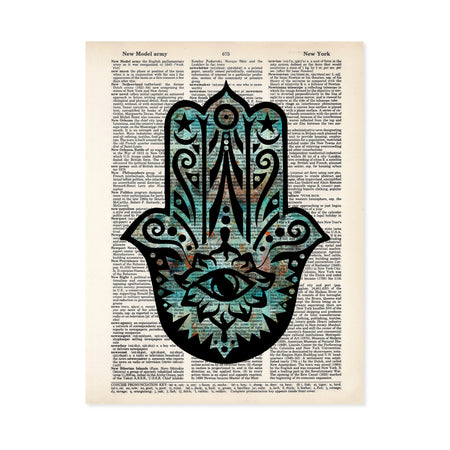 hamsa evil eye hand with blues and orange and black printed on a salvaged dictionary page