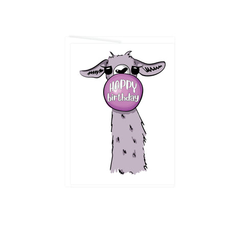 neck and head of a watercolor llama in grey with a pink bubble gum bubble in front of its face with the words happy birthday, greeting card is blank inside
