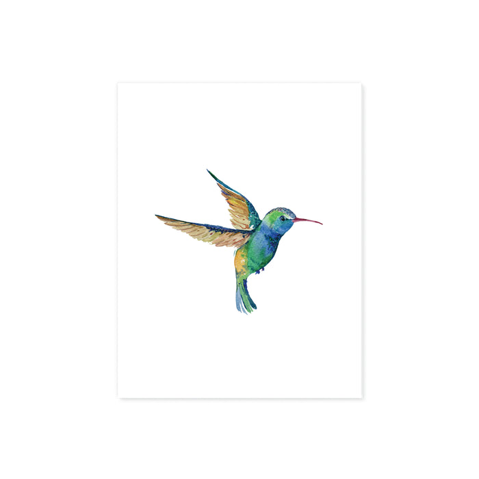 hummingbird in watercolor in shades of blues and greens on white matte paper