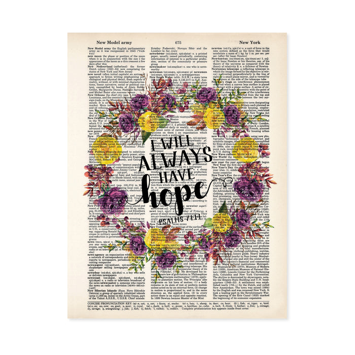 I will always have hope quote from the book of Psalms surrounded by a floral watercolor wreath with purple and yellow tone flowers on salvaged dictionary page