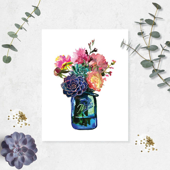 watercolor blue Ball jar with flowers and succulent bouquet, greens, pinks, purples, yellows, and greenery printed on matte white paper