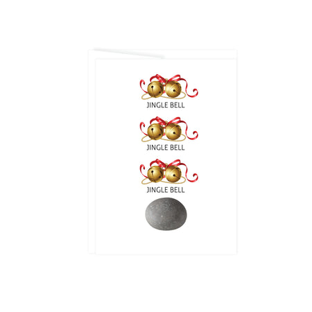 holiday greeting card with pictures of three sets of jingle bells and a rock at the bottom, this card is blank inside