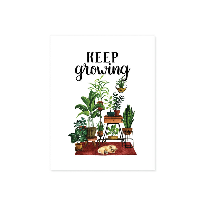 keep growing in black ink above a scene of plants on plant stands anchored by a rust colored rug with a yellow sleeping puppy printed on matte white paper