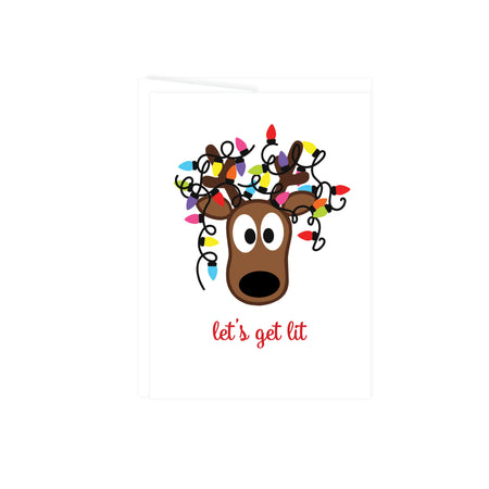 Let's Get Lit with a cartoon reindeer head with christmas lights tangled in his antlers, this greeting card is blank inside