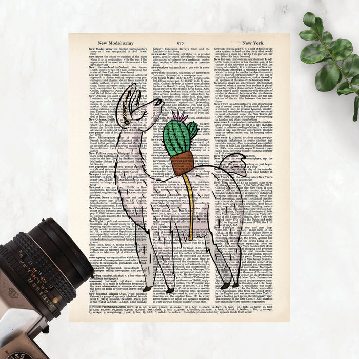 llama looking back over its shoulder at a potted cactus with a single flower strapped to its back printed on salvaged dictionary paper