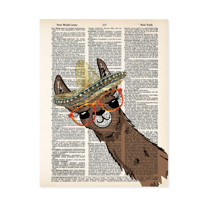 watercolor llama wearing a sombrero and oversized red and yellow glasses printed on salvaged dictionary page